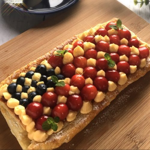 Cherry and blueberry custard pie(4th of July dinner idea)